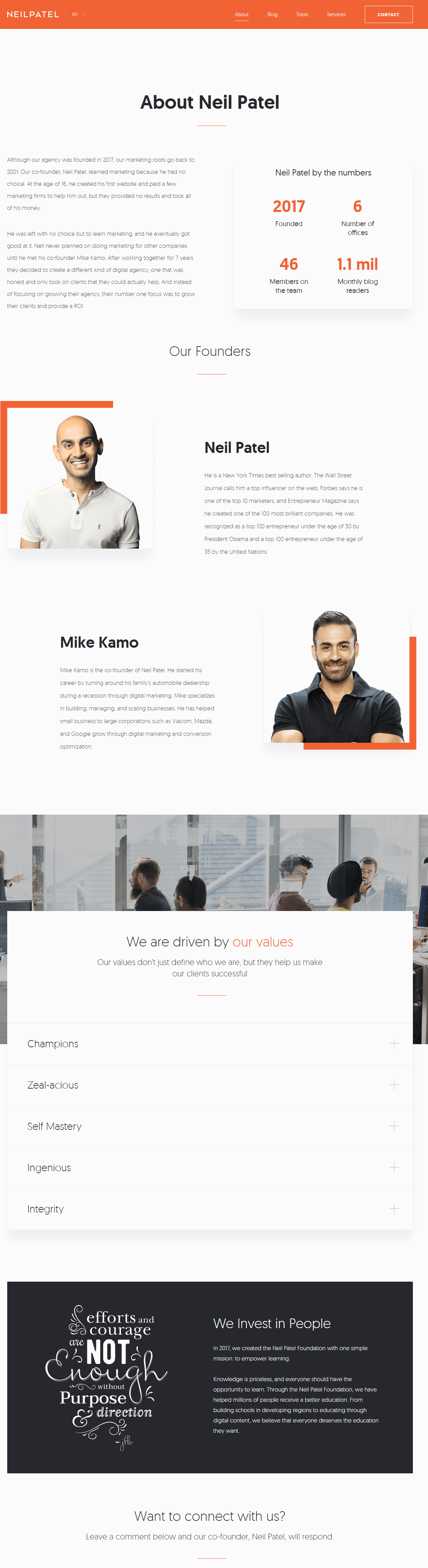 the about us section on neil patel's site