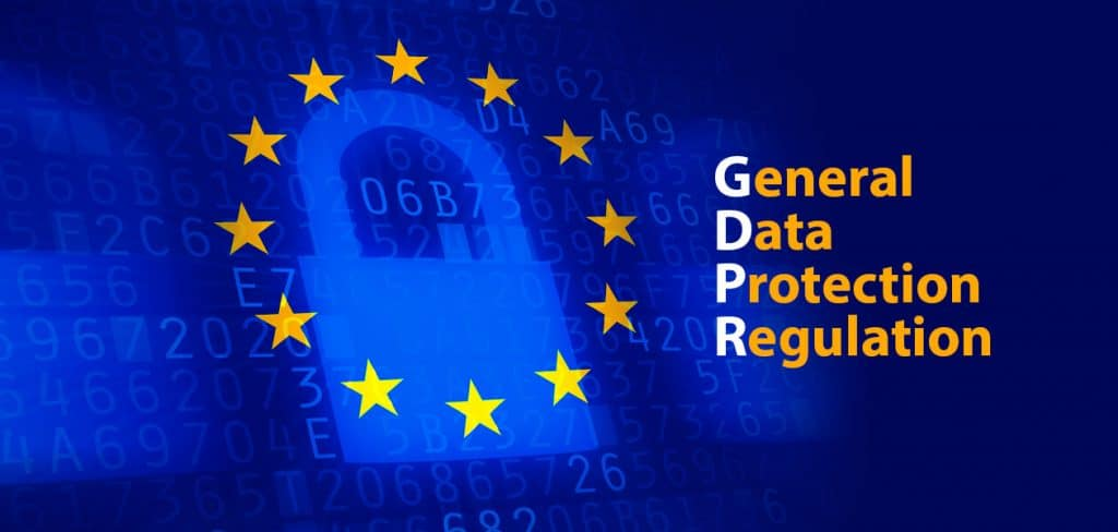 an image of a lock on a blue background and the words GDPR defined to the right of the lock