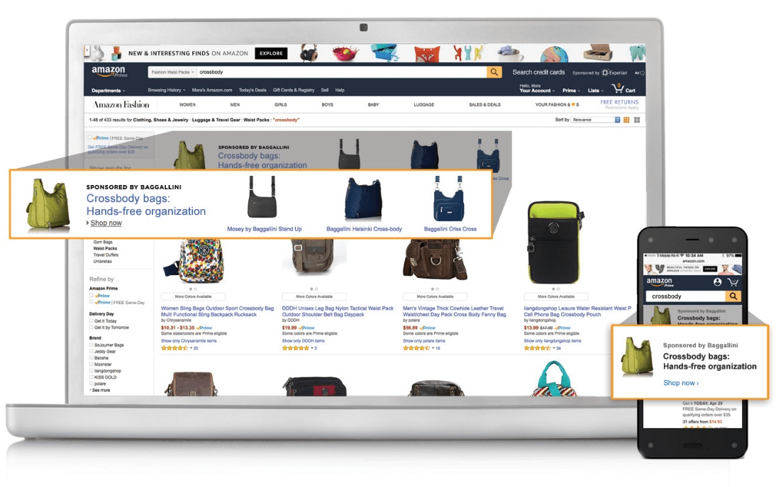 "a screenshot of a search of ""crossbody"" on amazon.com which highlights the sponsored product ads placed by a brand"
