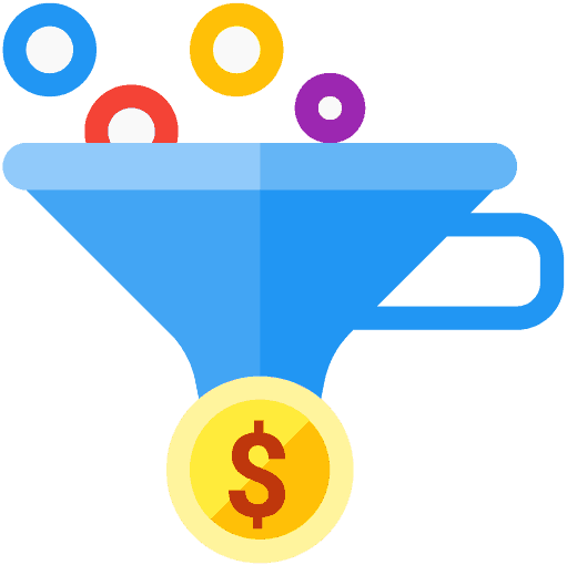 a vector image of a funnel and a dollar sign at the bottom and circles in multiple color at the top of the funnel
