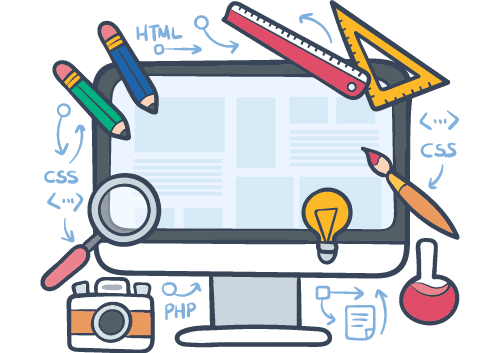 a graphic of a monitor with a lot of elements around it defining the web design process