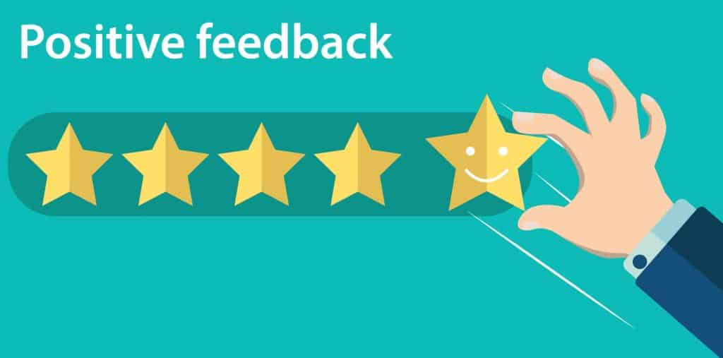 positive feedback with five gold stars