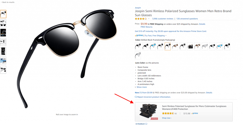 an example of a product display ad on an amazon product detail page
