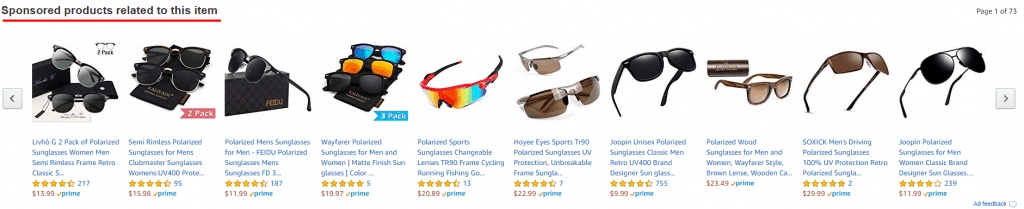 an example of sponsored ads on an amazon product detail page