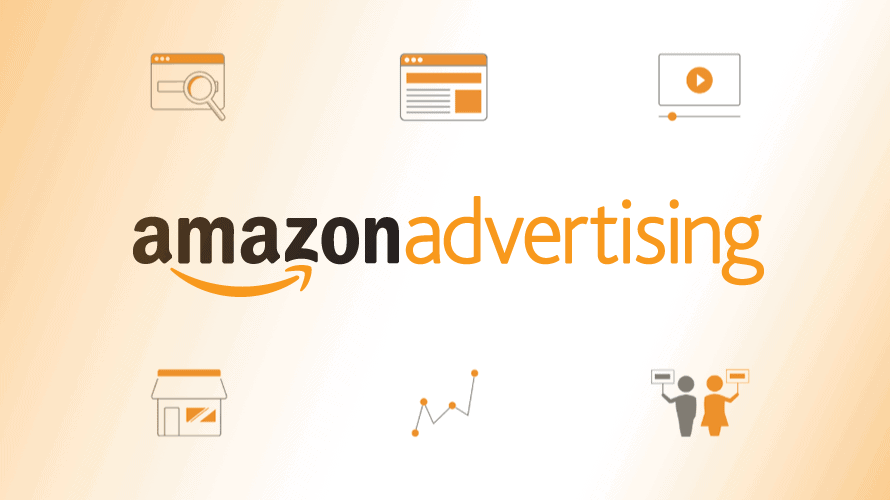 amazon advertising with six logos around it