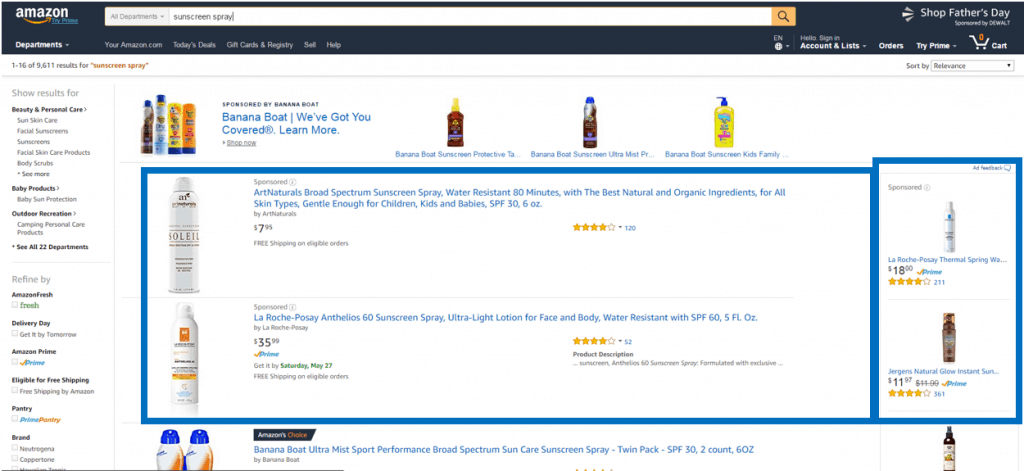 an example of sponsored ads on an amazon search results page