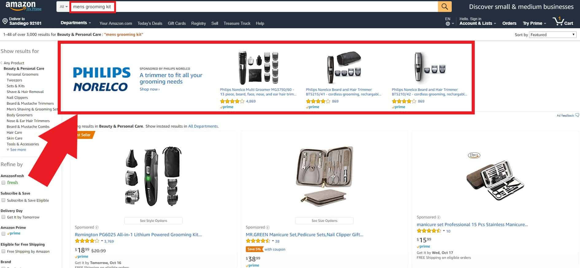 an example of a sponsored brands ad on an amazon search results page
