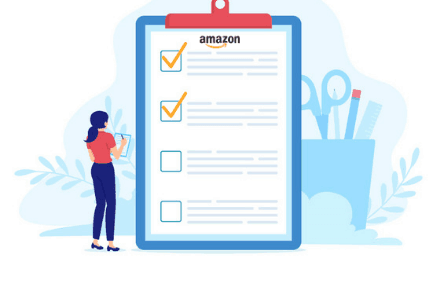 a person going over a checklist with the amazon logo on it