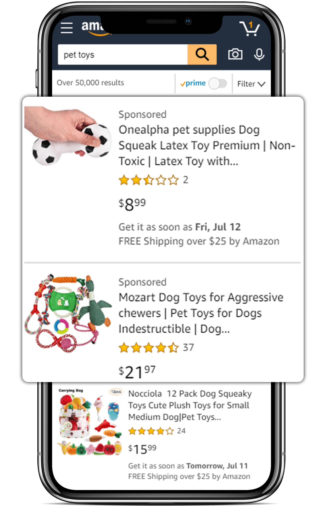 a search result for pet toys on amazon's mobile app